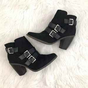 Mossimo Hadley Black Buckle Ankle Booties